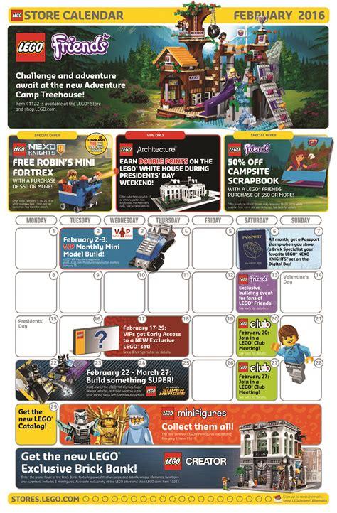 Calendar Store February 2016 Lego Store Calendar Promos Deals Events