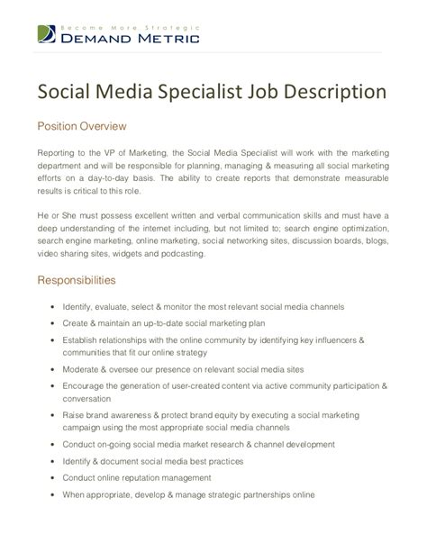 social media specialist cover letter marketing specialist description business