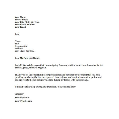 Official Resignation Letter Format Pdf Sle Professional Letter 14 Free Documents In Pdf Word
