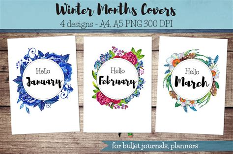 printable monthly journal covers winter months covers for bullet journal planner hello