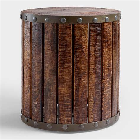 wood drum side table wood plank drum table market