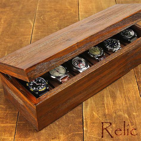 Elegan Brwon Croco Box For 6 Pcs Watches Kotak Jam Isi 6 Relic Series Heirloom 6 Pc Box Reclaimed Wood