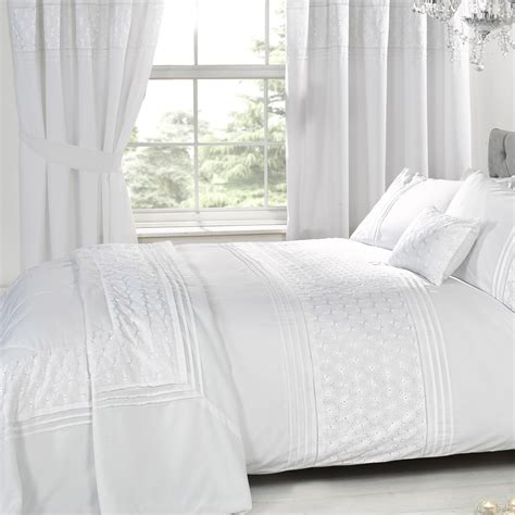 king linen curtains everdean white embroidered bedding set super king size