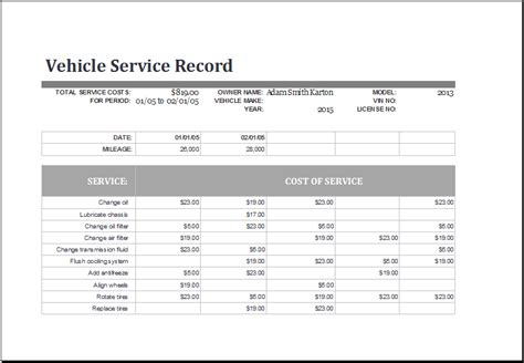 vehicle service record template ms excel vehicle service record log template excel templates
