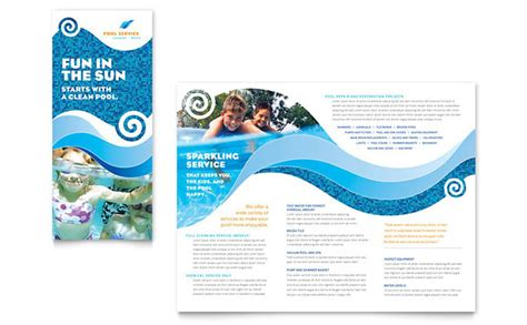 Swimming Pool Cleaning Service Brochure Template Design Swimming Pool Website Templates Free
