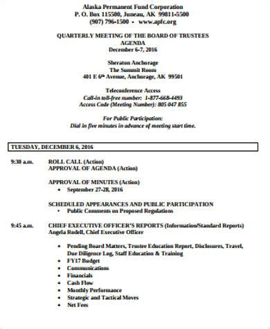 sle board meeting agenda template trustees annual report template 28 images free