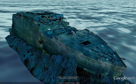 boat crash google earth the wreck of the titanic in 3d in google earth google