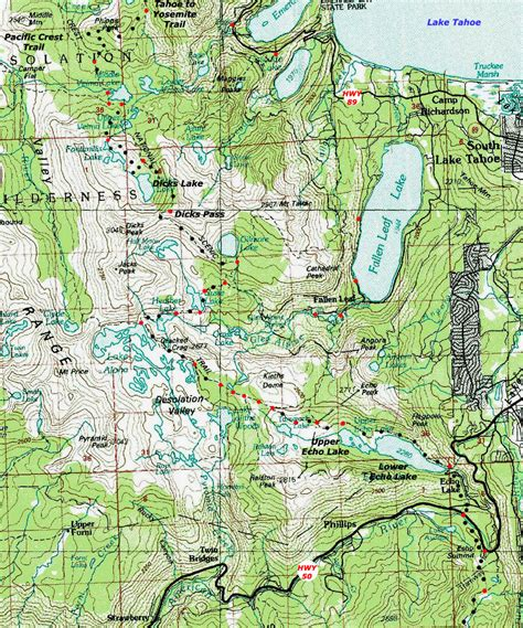 desolation wilderness map backpacking topo map desolation wilderness lake aloha to echo lake trail