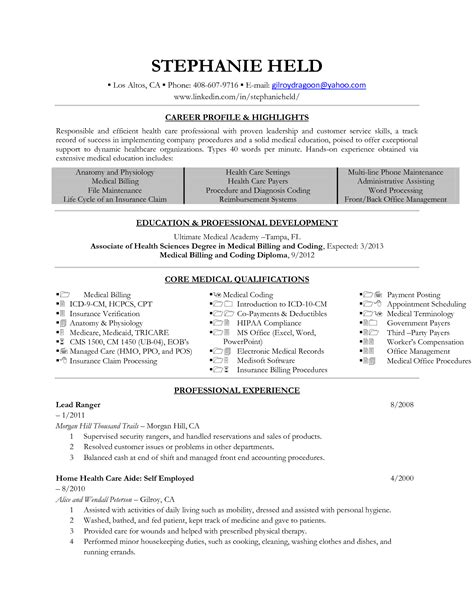 coding resume format billing and coding resume exle
