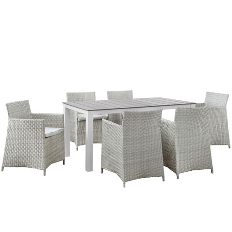 Junction Contemporary 7pc Outdoor Patio Wicker Dining Set