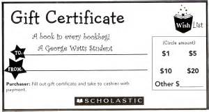 Scholastic Gift Card - gift certificate template