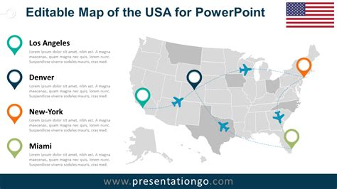 usa map free usa editable powerpoint map presentationgo