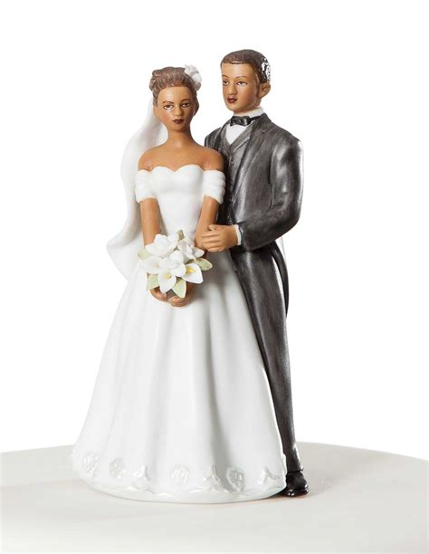 Small Elegant African American Wedding Cake Topper   Wedding Collectibles