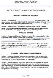 Bylaws Template For Corporation by Free Florida Corporate Bylaws Template Pdf Word