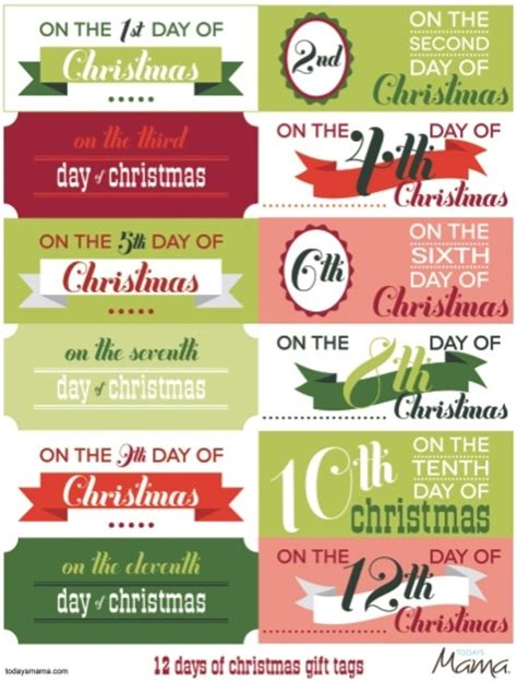 12 days of christmas gift tags printable 12 days of gift tags favething