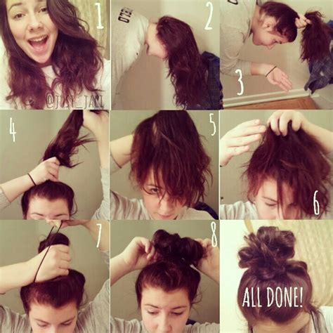 how to make a messy bun from short hair ehow how to messy bun to do hairstyles pinterest messy
