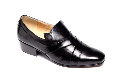 mens rt118 black all leather cuban heel dress shoes size