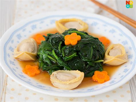 new year vegetable dishes spinach with baby abalone phuay leng recipe