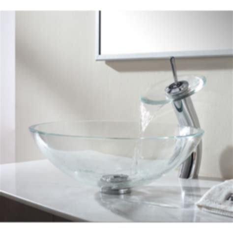kraus clear glass vessel sink kraus clear glass vessel sink and waterfall faucet