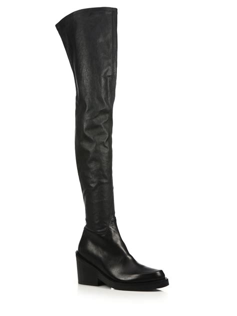 demeulemeester leather the knee chunky heel boots
