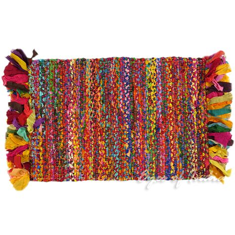 colorful rag rugs 2 x 3 ft colorful rag rug chindi floor mat carpet tapestry indian woven ebay