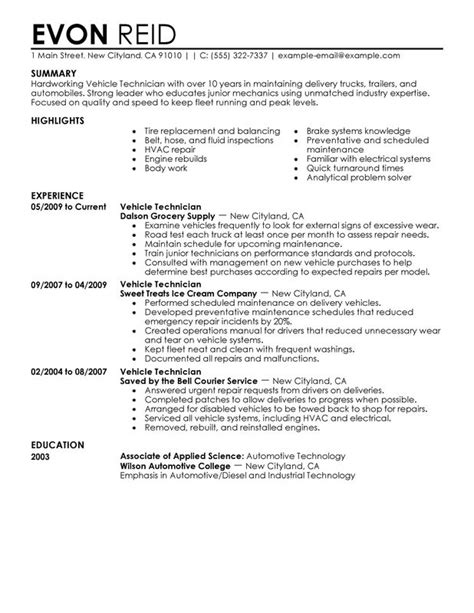 Automotive Technician Resume by Automotive Technician Resume Exles Free To Try Today