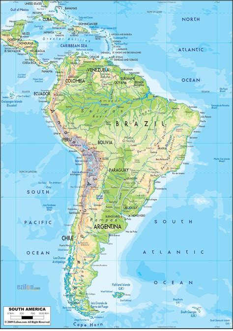 physical map of panama physical map of south america geography panama canal at the top and america