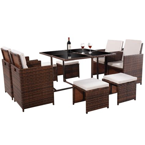 Brown 9 Pc Mix Patio Garden Rattan Wicker Sofa Set Woven Wicker Patio Furniture