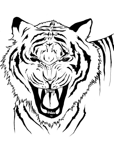 fierce white tiger cartoon