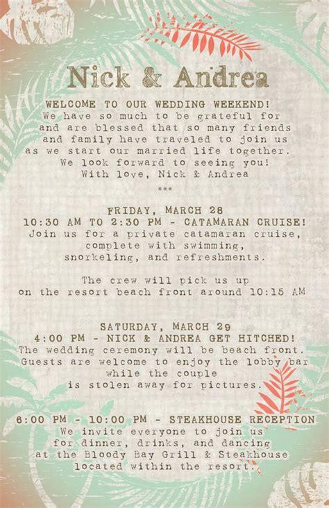 destination wedding invitation letter 20 destination wedding itinerary programs scheduals