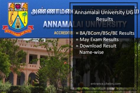 Annamalai Result 2017 Mba by Annamalai Results 2018 Ug 1st 2nd 3rd Year