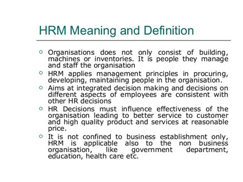 Mba Hrm Means by Human Resource Management Mba