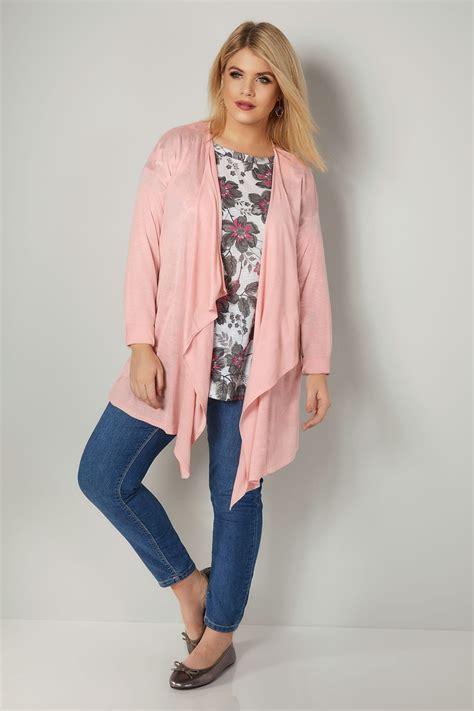 Special Cardi Basic 3tone Pink Cardigan 0109 pink knit waterfall cardigan plus size 16 to 36