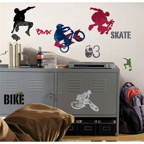 boy room wall decor 25 new sports wall decals skateboarding biking