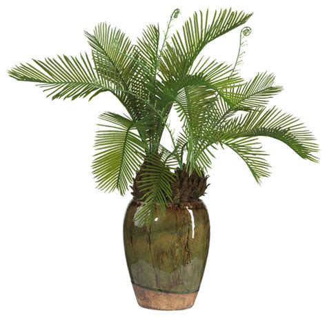 artificial tropical plants and trees cycas w glazed vase silk plant tropical artificial