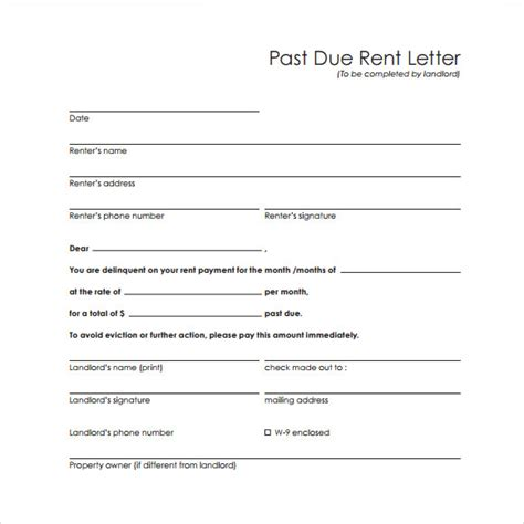 Sle Rent Increase Letter Pdf Late Rent Letter Template 28 Images Past Due Invoice