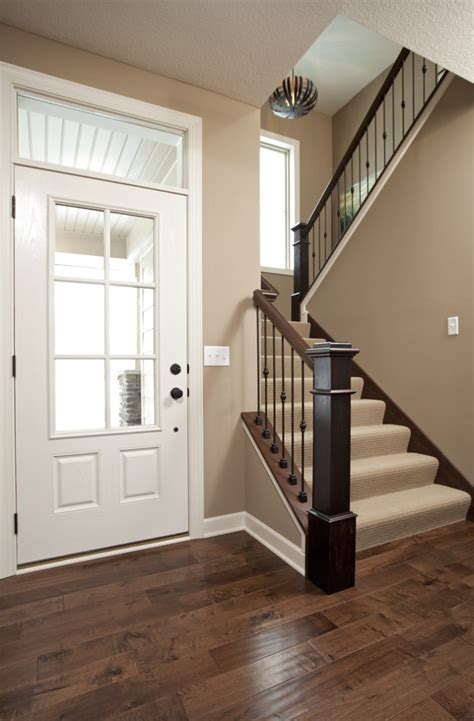 wood floors paint color white trim but i like the accent on the railing note the carpet