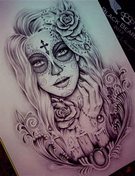 girl skull tattoo designs 60 catrina tattoos designs and sketches golfian