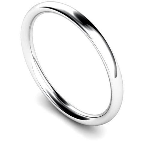 womens 18ct white gold 2mm court wedding ring 000762