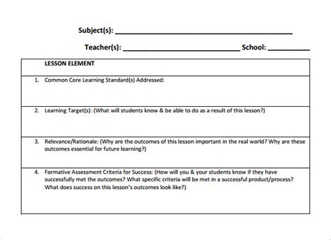 instructor lesson plan template 18 lesson plan templates free sle exle