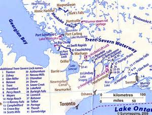 map of canada waterways canadian canal society map of the trent severn waterway