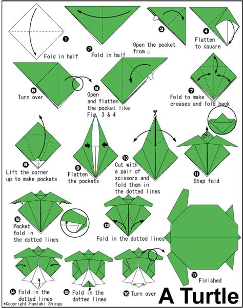 Advanced Origami Diagrams - steps on how to fold a turtle origami