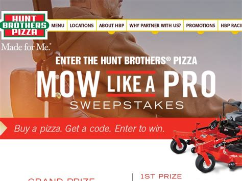 Hunt Brothers Pizza Sweepstakes - hunt brothers pizza mow like a pro sweepstakes