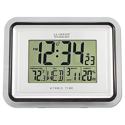 atomic bathroom clock la crosse technology clear frame atomic digital wall clock