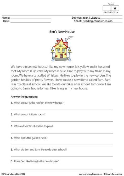 reading comprehension test uk primaryleap co uk reading comprehension ben s new