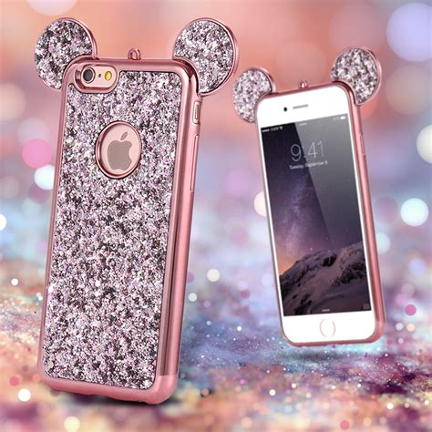 I Phone 7 Mickey Black מוצר for iphone 6 6s 3d glitter sequin mickey mouse ear back cover for iphone 7 6
