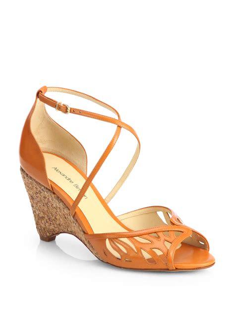 orange wedge sandals alexandre birman leather cork wedge sandals in orange lyst