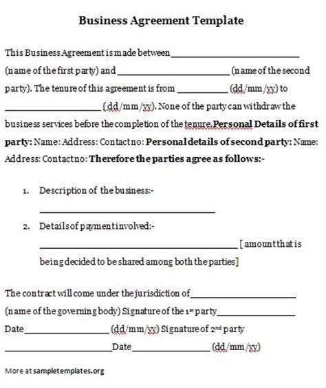 business agreement template business agreement business agreement template