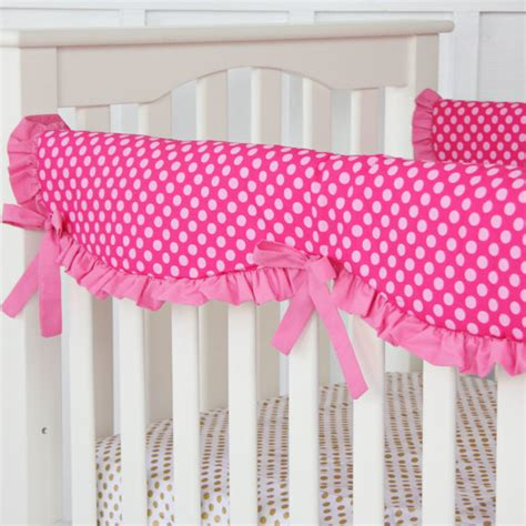 Pink Crib Rail Cover by Pink On Pink Dot Crib Rail Cover For Bumperless Bedding