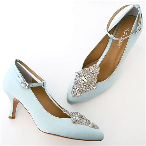 Blue Wedding Shoes For Low Heel by Annalise Pale Blue Vintage Wedding Shoes